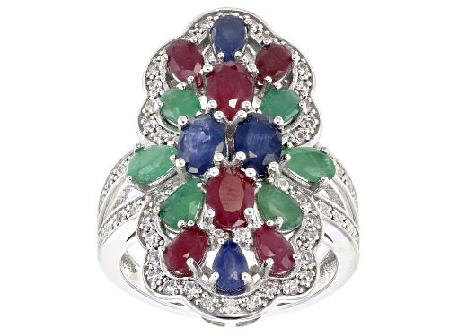 Photo of Pre-Owned 2.04ctw ruby, 1.53ctw blue sapphire, 1.28ctw emerald & .25ctw white zircon rhodium over si - Size 6