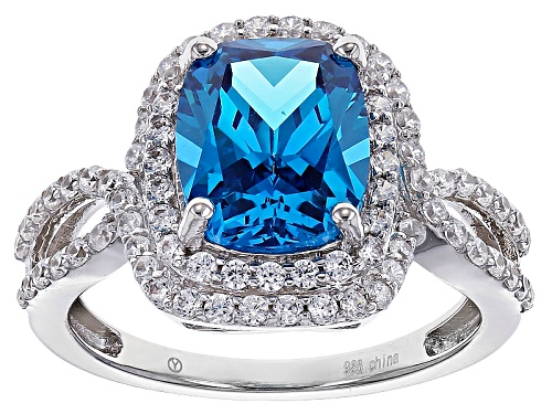 Photo of Pre-Owned Bella Luce ®Esotica™6.00ctw Neon Apatite And White Diamond Simulants Rhodium Over Sterling - Size 5