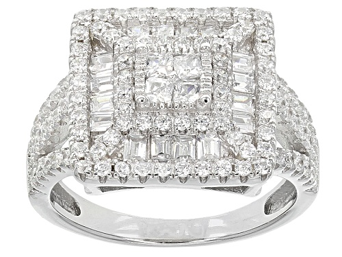 Photo of Pre-Owned Bella Luce ® 2.55ctw Rhodium Over Sterling Silver Ring (1.56ctw Dew) - Size 6