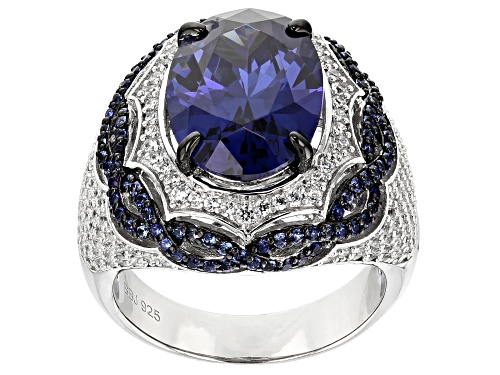 Photo of Pre-Owned Bella Luce ®Esotica ™Lab Created Sapphire,Tazanite&White Diamond Simulants Rhodium Over Si - Size 5