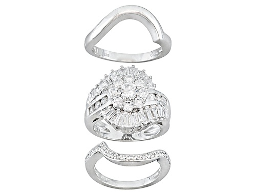 Photo of Pre-Owned Bella Luce® 3.71ctw Round And Tapered Baguette Rhodium Over Sterling Silver Ring With Wrap - Size 9