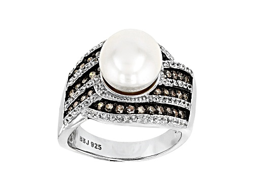 Photo of Pre-Owned 9.5-10mm Cultured Freshwater Pearl, 1.08ctw Diamond & Zircon Rhodium Over Silver Ring - Size 12