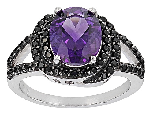 Photo of Pre-Owned 1.90ct Oval African Amethyst With .45ctw Round Black Spinel Sterling Silver Ring - Size 10