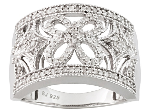 Photo of Pre-Owned .33ctw Round White Diamond Rhodium Over Sterling Silver Band Ring - Size 5