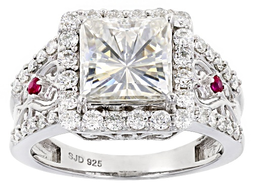 Photo of Pre-Owned Moissanite Fire® 3.90ctw Dew Round And .07ctw Round Ruby Platineve™ Ring - Size 5