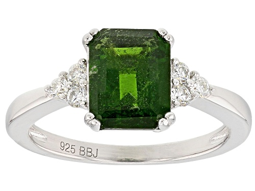 Photo of Pre-Owned 1.98CT EMERALD CUT RUSSIAN CHROME DIOPSIDE WITH .15CTW ROUND MOISSANITE STERLING SILVER RI - Size 12