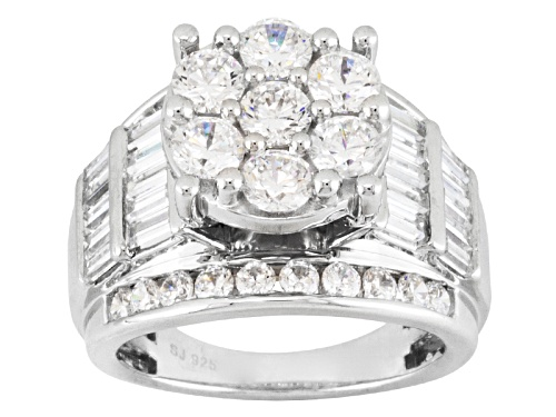 Photo of Pre-Owned Bella Luce ® 7.14ctw Round And Baguette Rhodium Over Sterling Silver Ring - Size 5