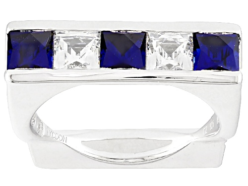 Photo of Pre-Owned Bella Luce ® 2.51ctw Lab Created Sapphire & Diamond Simulant Platineve ™ Ring Featuring Ty - Size 9