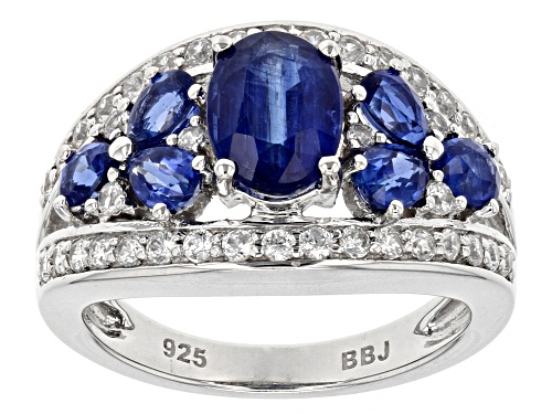 Photo of Pre-Owned 2.75CTW MIXED SHAPE NEPALESE KYANITE WITH 1.00CTW ROUND WHITE ZIRCON STERLING SILVER RING - Size 5
