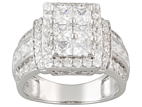 Photo of Pre-Owned Bella Luce ® 3.26ctw Square And Round, Rhodium Over Sterling Silver Ring (2.44ctw Dew) - Size 6