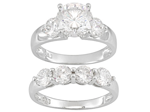 Photo of Pre-Owned Bella Luce® Dillenium 5.89ctw Rhodium Over Sterling Silver Ring With Band - Size 8