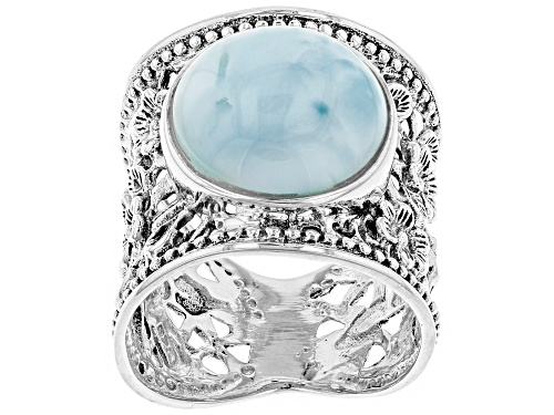 Photo of Pre-Owned Round Cabochon Larimar Sterling Silver Wide Floral Design Band Ring - Size 8