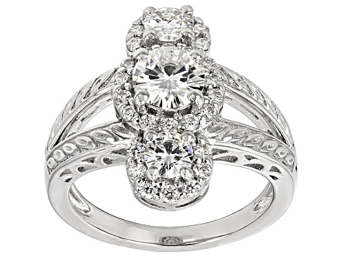 Photo of Pre-Owned Moissanite Fire® 1.82ctw Diamond Equivalent Weight Round Platineve™ Ring - Size 5