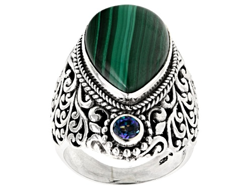 Photo of Pre-Owned Artisan Gem Collection Of Bali™ Malachite And .25ctw River Ride™ Mystic Quartz® Silver Rin - Size 5