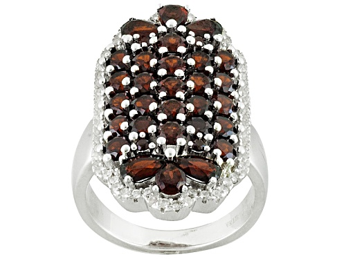 Photo of Pre-Owned 3.81ctw Round And Pear Shape Vermelho Garnet™ With .37ctw Round White Zircon Silver Ring - Size 4