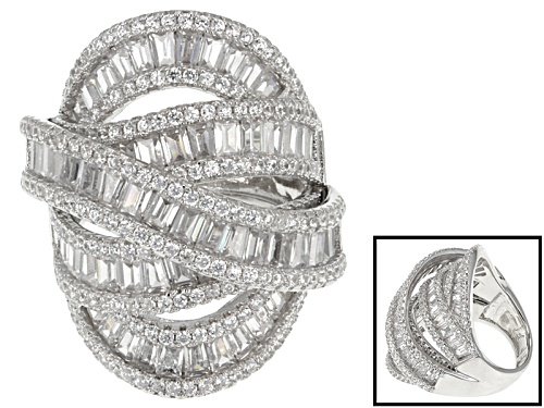 Photo of Pre-Owned Bella Luce ® 8.83ctw Baguette And Round Rhodium Over Sterling Silver Ring(7.22ctw Dew) - Size 8