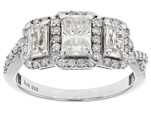 Photo of Pre-Owned Moissanite Fire® 1.88ctw Diamond Equivalent Weight Radiant Cut And Round, Platineve™ Ring. - Size 5