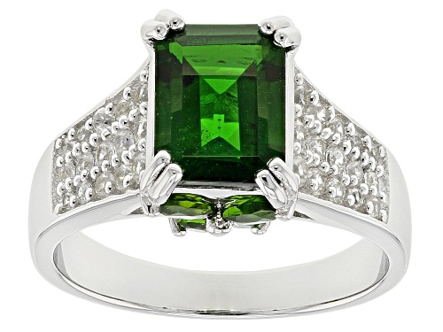Photo of Pre-Owned 3.92ctw Chrome Diopside ,Russian Chrome Diopside, White Zircon Sterling Silver Ring - Size 10