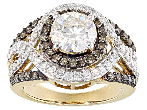 Photo of Pre-Owned Moissanite Fire® 2.53ctw Dew And .60ctw Champagne Diamond 14k Yellow Gold Over Silver Ring - Size 7