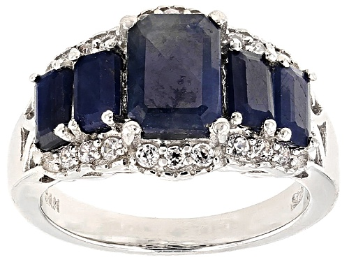 Photo of Pre-Owned 3.06ctw Emerald Cut Blue Sapphire With .35ctw Round White Zircon Sterling Silver 5-Stone R - Size 5