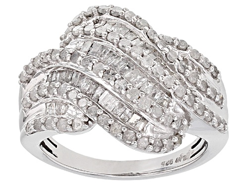 Photo of Pre-Owned 1.45ctw Round And Baguette White Diamond Rhodium Over Sterling Silver Ring - Size 5