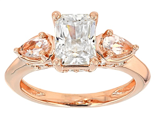 Photo of Pre-Owned Moissanite Fire® 1.96ctw Dew And .38ctw Morganite 14k Rose Gold Over Silver Ring. - Size 7