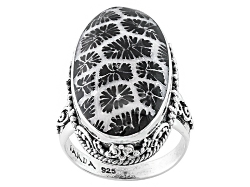 Photo of Pre-Owned Artisan Gem Collection Of Bali™ Oval Cabochon Indonesian Black Coral Silver Ring - Size 11