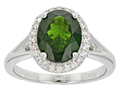 Photo of Pre-Owned 2.29ct Oval Russian Chrome Diopside And .19ctw Round White Zircon Sterling Silver Ring - Size 9