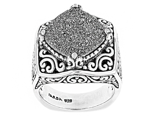 Photo of Pre-Owned Artisan Gem Collection Of Bali™ Square Cushion Moon Silver™ Drusy Quartz Silver Solitaire - Size 12