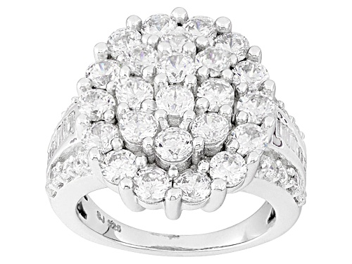 Photo of Pre-Owned Bella Luce ® 7.28ctw Diamond Simulant Rhodium Over Sterling Silver Ring (3.32ctw Dew) - Size 6