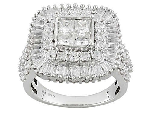 Photo of Pre-Owned Bella Luce ® 5.01ctw Diamond Simulant Rhodium Over Sterling Silver Ring (3.14ctw Dew) - Size 11