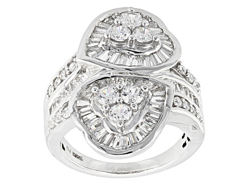 Photo of Pre-Owned Bella Luce ® 4.48ctw Diamond Simulant Rhodium Over Sterling Silver Heart Ring (3.57ctw Dew - Size 5