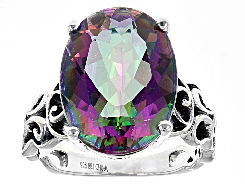 Pre-Owned 8.94ct Oval Multicolor Quartz Sterling Silver Solitaire Ring - Size 4
