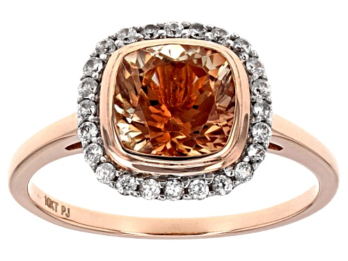 Photo of Pre-Owned 1.45ct Square Cushion Oregon Sunstone With .45ctw Round White Zircon 10k Rose Gold Ring. - Size 5