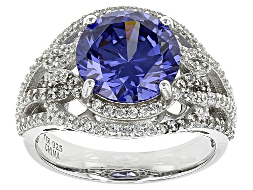 Photo of Pre-Owned Bella Luce ® Esotica™7.76ctw Tanzanite And White Diamond Simulants Rhodium Over Sterling R - Size 6