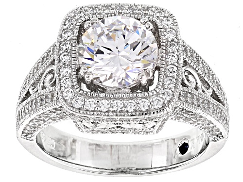 Photo of Pre-Owned Vanna K™ For Bella Luce® 4.73ctw Round Platineve™ Ring (3.28ctw Dew) - Size 10