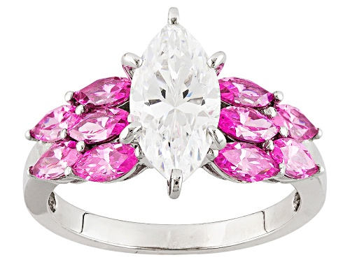 Photo of Pre-Owned Bella Luce® 5.15ctw Pink & White Diamond Simulants Rhodium Over Sterling Silver Ring (3.02 - Size 7