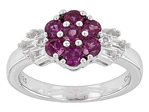 Photo of Pre-Owned .88ctw Round Raspberry Color Rhodolite, .37ctw Round And Tapered Baguette Topaz Sterling S - Size 12