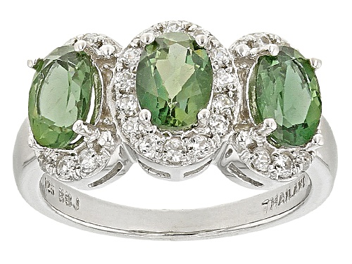 Photo of Pre-Owned 1.91ctw Oval Green Apatite With .38ctw Round White Zircon Sterling Silver 3-Stone Ring - Size 5