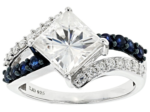 Photo of Pre-Owned MOISSANITE FIRE® 2.82CTW DEW AND .40CTW BLUE SAPPHIRE PLATINEVE™ RING - Size 8