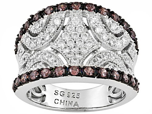 Photo of Pre-Owned Bella Luce ® 3.38ctw Round Mocha & White Diamond Simulant Rhodium Over Sterling Silver Rin - Size 5