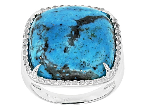 Photo of Pre-Owned Tehya Oyama Turquoise™ 18mm Square Cushion Kingman Turquoise & .16ctw Topaz Silver Ring - Size 6