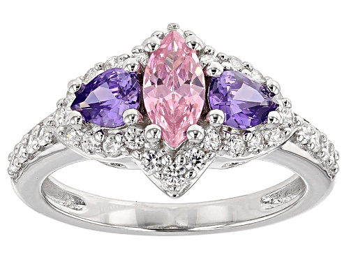 Photo of Pre-Owned Bella Luce ® 2.73ctw Pink, Purple And White Diamond Simulants Rhodium Over Sterling Silver - Size 12