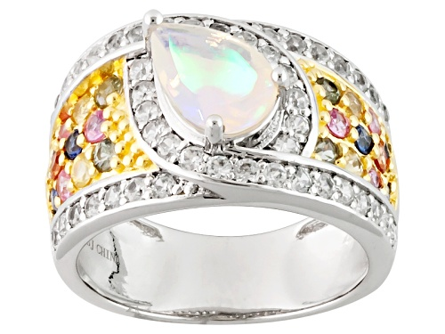 Photo of Pre-Owned 2.38ctw Pear Shape Ethiopian Opal, Round Multi Color Sapphire, White Zircon Two-Tone Silve - Size 6