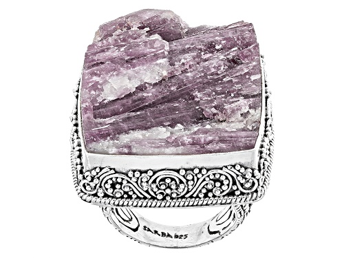 Photo of Pre-Owned Artisan Collection Of Bali™ 30x25mm Rough Cut Pink Tourmaline In Quartz Silver Solitaire R - Size 6
