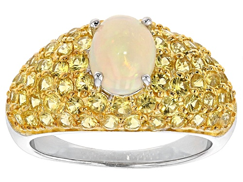 Photo of Pre-Owned .70ct Oval Ethiopian Honey Opal With 2.50ctw Round Yellow Sapphire Sterling Silver Ring - Size 11