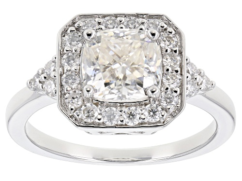 Photo of Pre-Owned MOISSANITE FIRE® 2.14CTW DEW CUSHION CUT AND ROUND PLATINEVE™ RING - Size 5