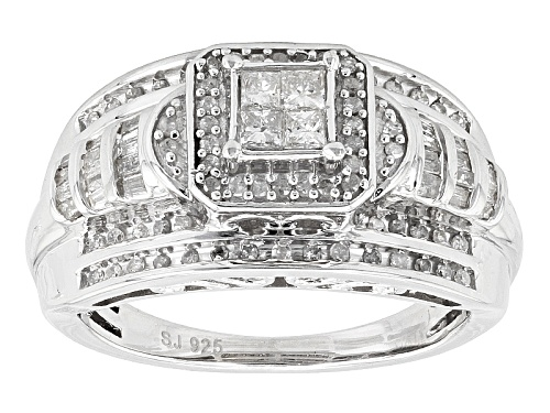 Photo of Pre-Owned .65ctw Round Baguette And Princess Cut White Diamond Rhodium Over Silver Quad Ring - Size 5