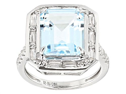 Photo of Pre-Owned 7.25ct Emerald Cut Glacier Topaz™ With 1.25ctw White Zircon Sterling Silver Ring - Size 12