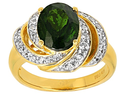 Photo of Pre-Owned 2.17ct Oval Russian Chrome Diopside With .80ctw White Zircon 18k Yellow Gold Over Silver R - Size 12
